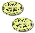 PAIR Distressed Aged Established 1968 Aged To Perfection Oval Design Vinyl Car Sticker 70x45mm Each